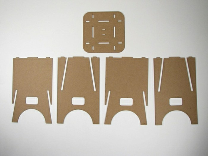 how to make cardboard stools, pieces of the stools, cardboard furniture, white background