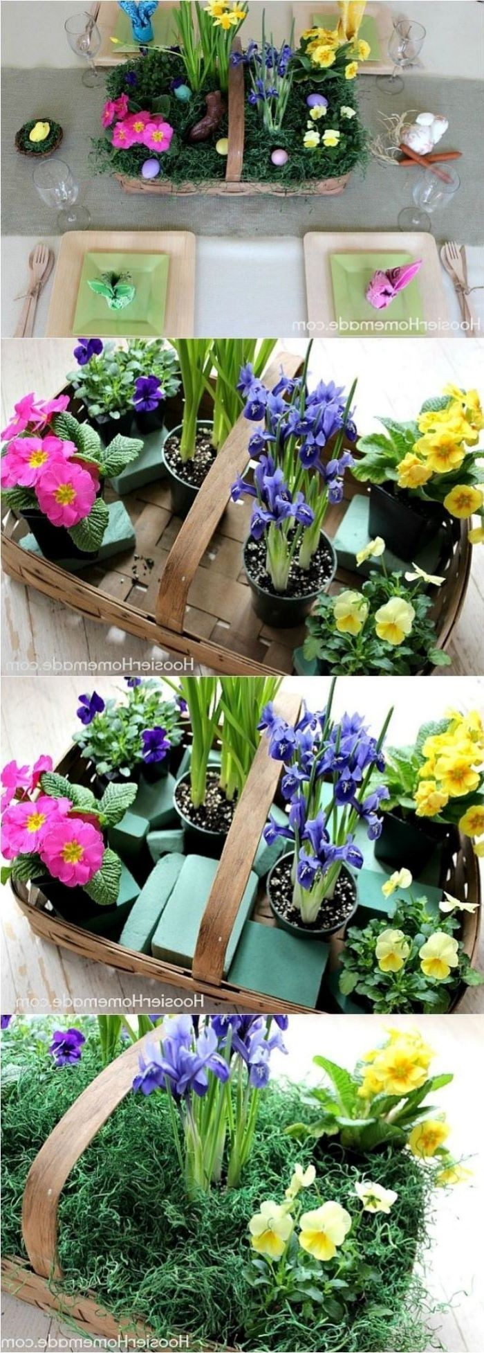 step by step diy tutorial, flower basket, easter table settings, colourful flower bouquets
