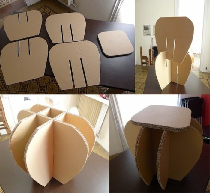 cardboard table, in the shape of a flower, cardboard ideas, step by step pieces, wooden table, diy bookshelf from cardboard