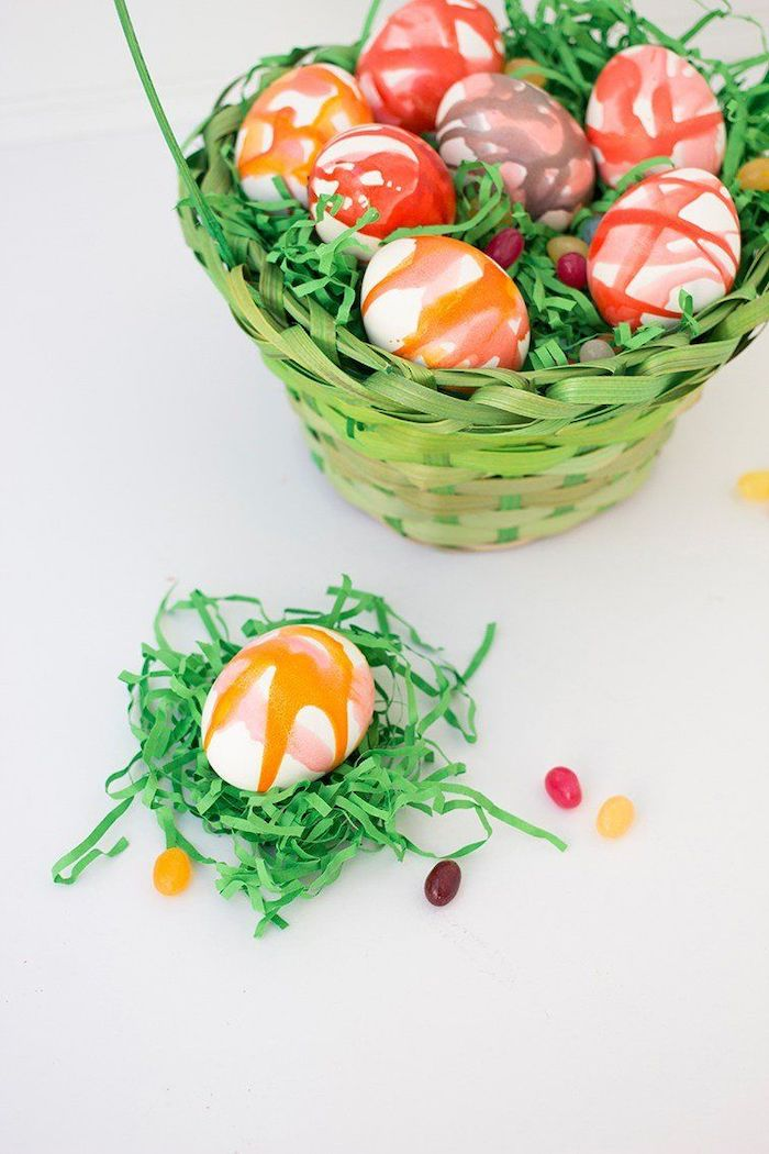 green wooden basket, full of colourful eggs, coloring easter eggs, kool aid eggs, diy tutorial, jelly beans