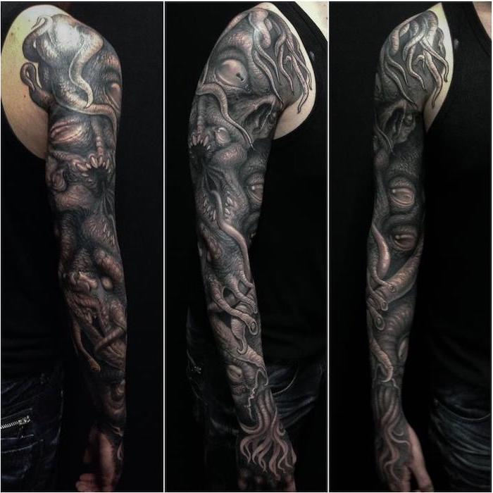 large black and white monster, arm sleeve tattoo, back tattoos for men, black top and jeans, black background