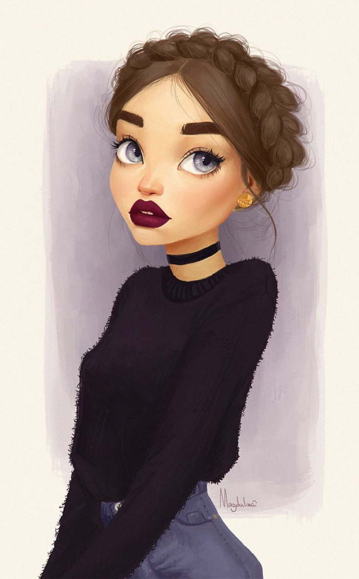 large blue eyes, red lips, braided brown hair, girl standing, black and white girl drawing