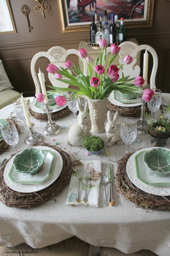 large bouquet of pink tulips, easter centerpiece ideas, white and green plate settings