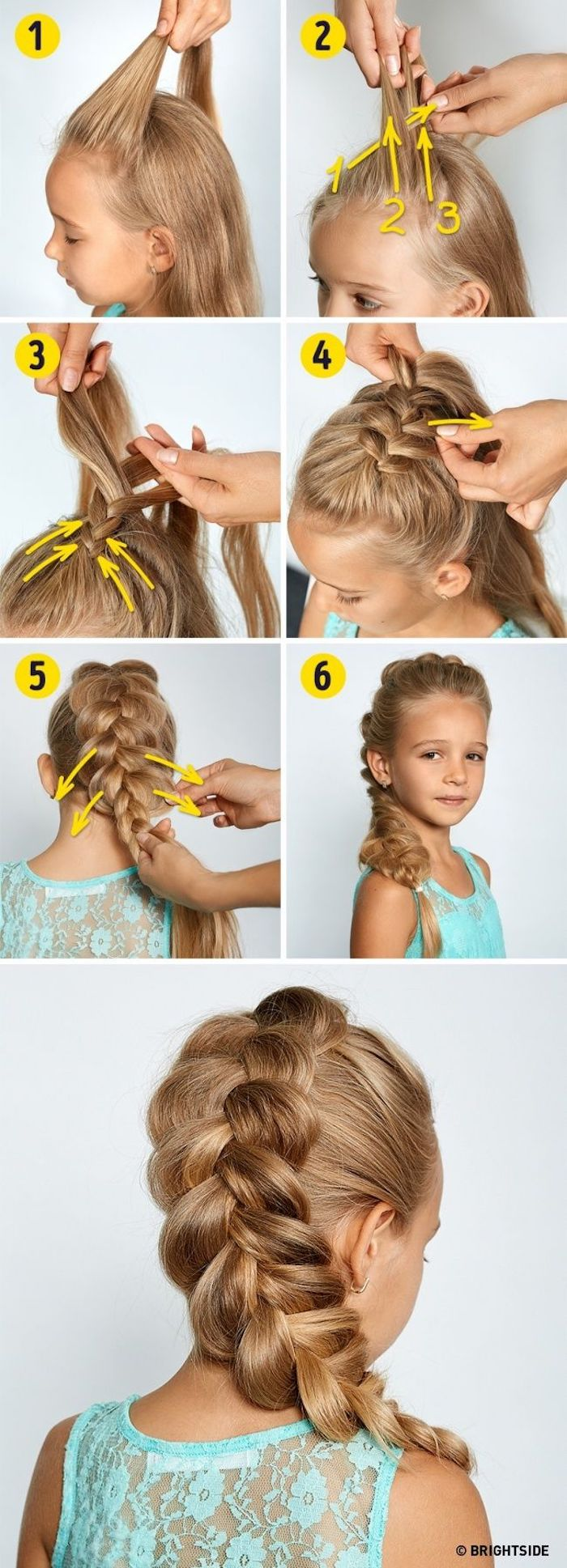 turquoise top, white background, braided hairstyles for little girls, step by step tutorial, long blonde hair in a braid