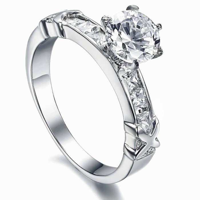 large round diamond, unique wedding bands, diamond studded white gold band