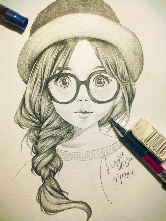 black and white girl drawing, braided side ponytail, large sunglasses, hat on top of the head