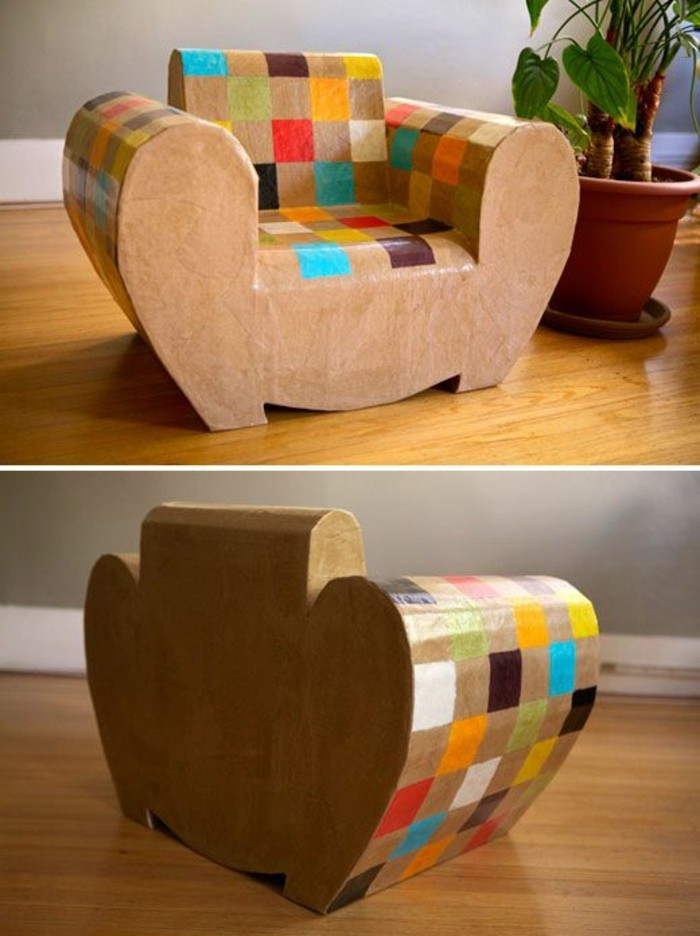large potted plant, cardboard colourful armchair, on a wooden floor, cardboard ideas