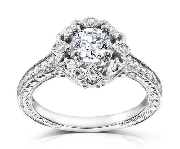 flower shaped diamond, diamond studded band, non traditional engagement rings, white background