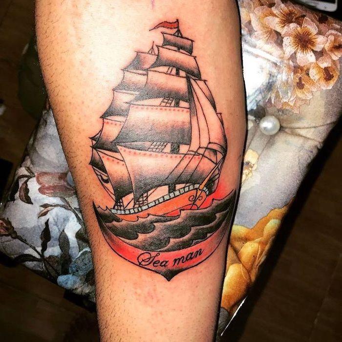ship sailing, sea man inscription, coloured leg tattoo, wrist tattoos for men