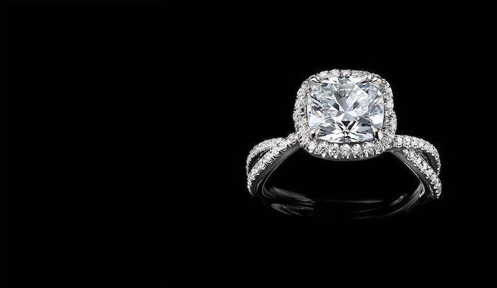 square cut diamond, beautiful engagement rings, diamond studded band, black background