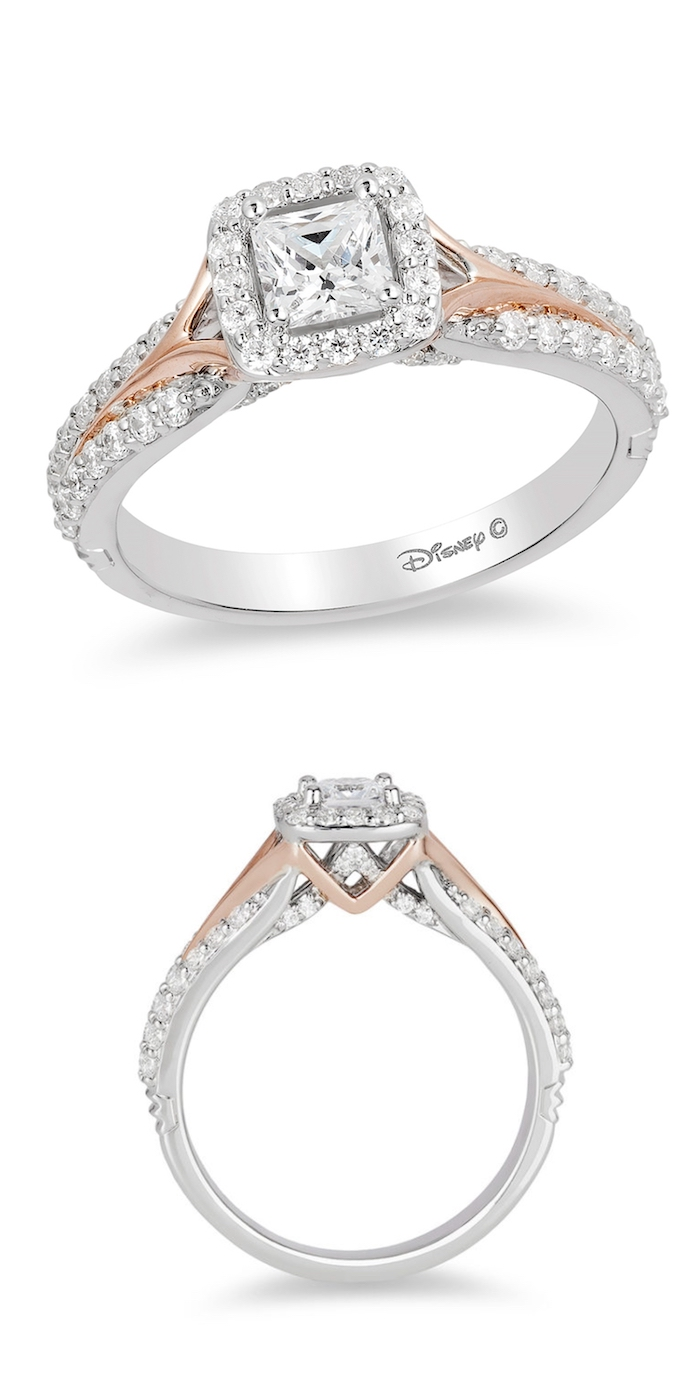 engagement rings for women, aurora disney princess inspired ring, square cut diamond