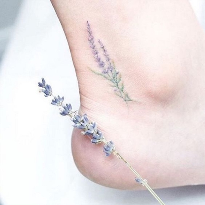 lavender ankle tattoo, small tattoos, lavender herb next to a woman's foot, white background