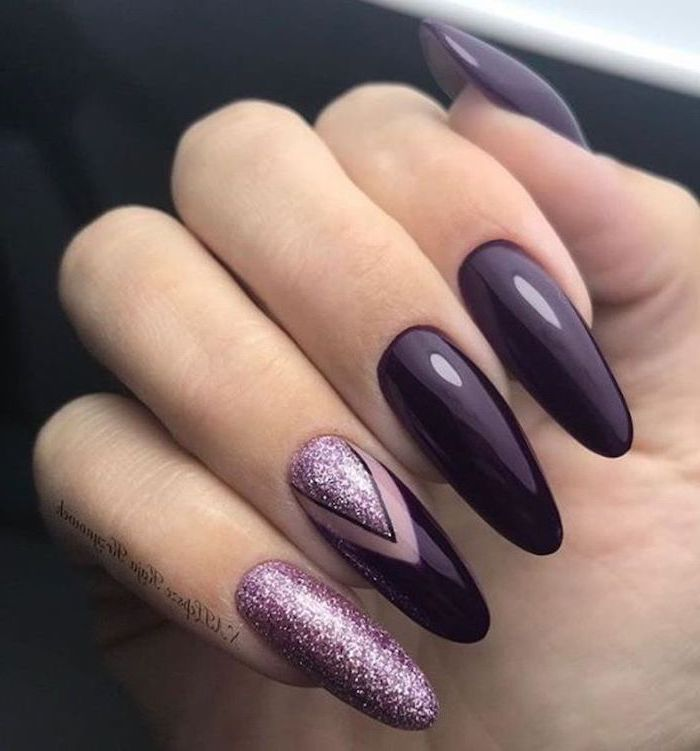 dark purple nail polish, pink glitter nail polish, geometrical shapes drawn on one of the nails, cool nail designs