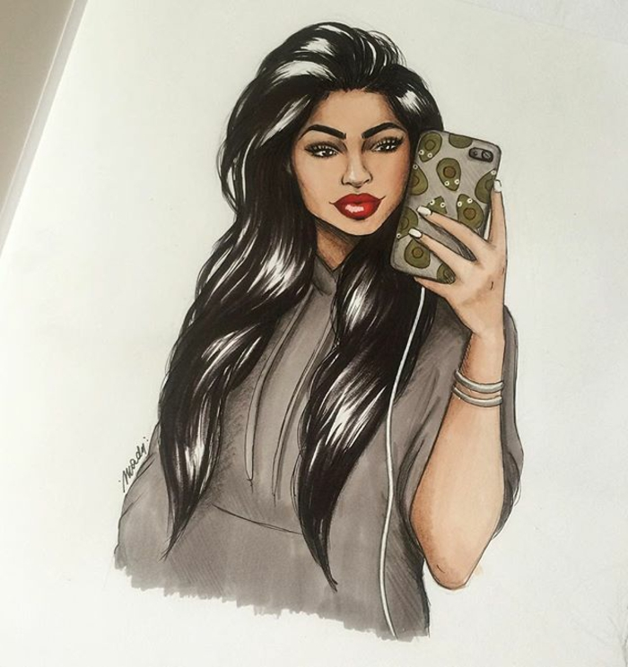 long black wavy hair, girl holding a phone, taking a selfie, avocados phone case, black and white girl drawing