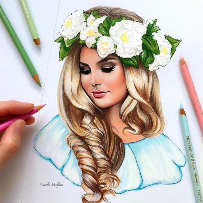 large floral crown, long blonde curly hair, boy and girl drawing, pencils around the drawing