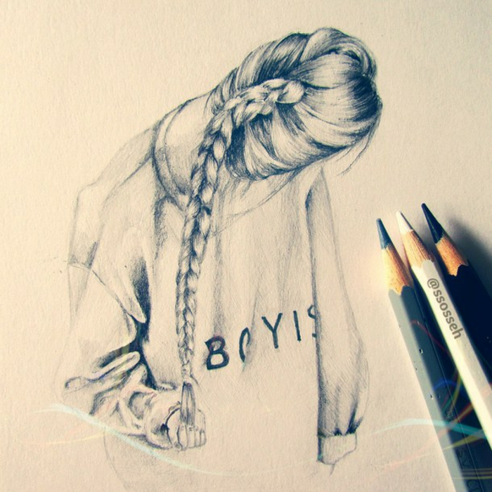 black and white sketch, long braided hair, how to draw a person step by step, white sketchbook