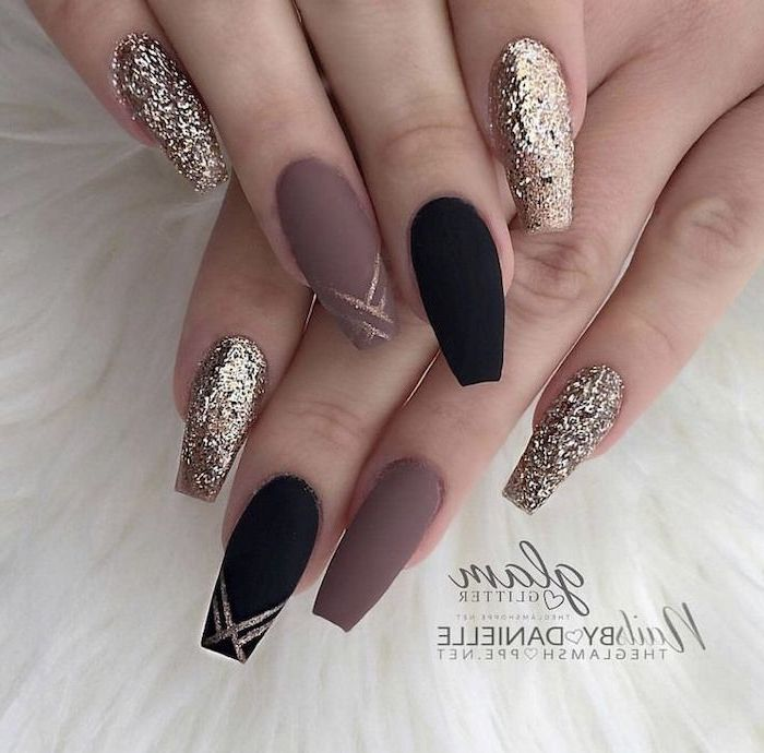 nude and black matte nail polish, gold glitter nail polish, cool nail designs, both hands photographed