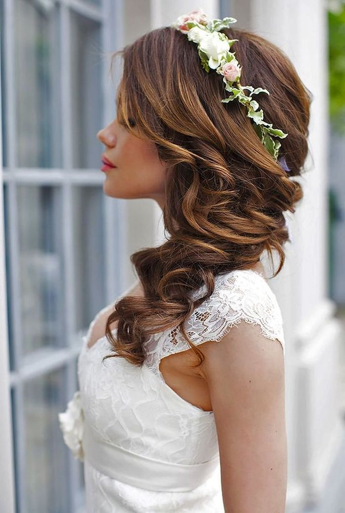 white dress, easy hairstyles to do yourself, long brown hair in a side ponytail, flower headband