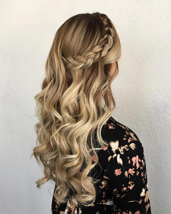 long wavy blonde hair with a braid, floral top, wedding hairdos, white background