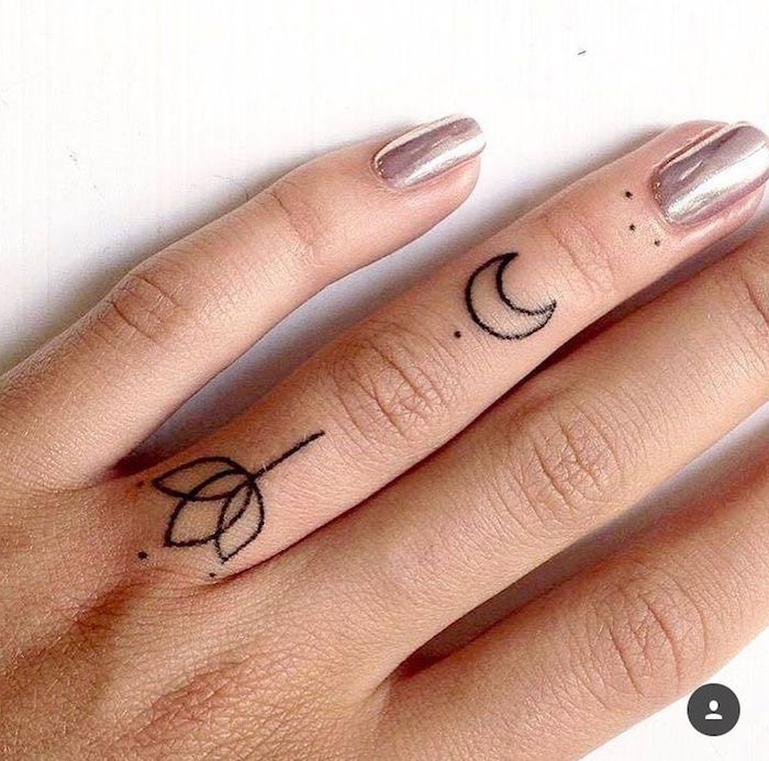 lotus flower, crescent moon and dots, ring finger tattoos, heart tattoo on finger, pink metallic nail polish