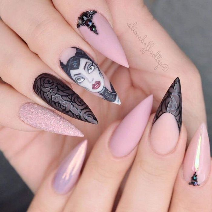 disney inspired maleficent drawing, pink matte nail polish, pink chrome and glitter nail polish, nail ideas