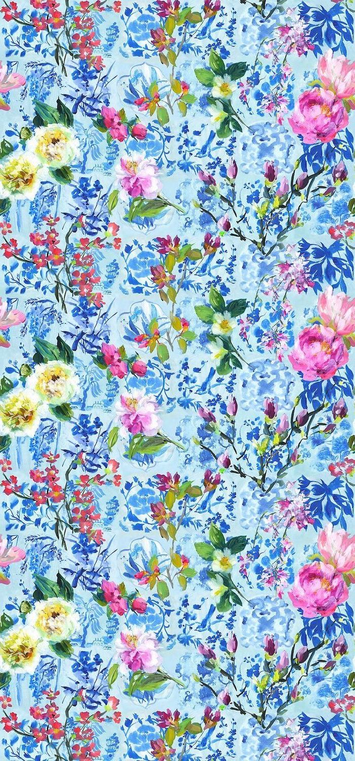 floral phone background wallpaper, painted flowers, spring desktop wallpaper, blue background