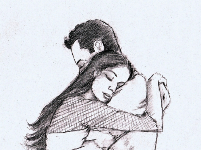 couple hugging, black and white sketch, how to draw a person step by step, white background