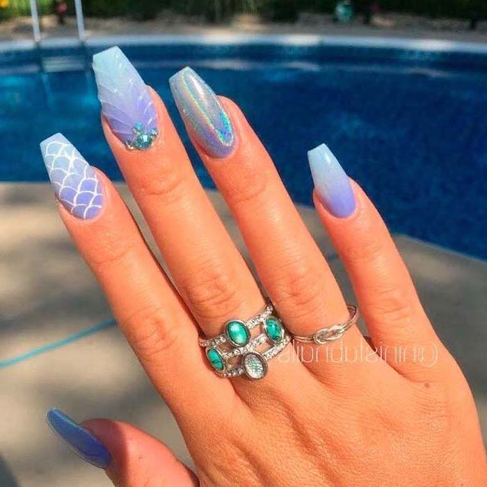 mermaid manicure, pretty nail designs, long coffin nails, silver rings on the middle finger, with turquoise stones
