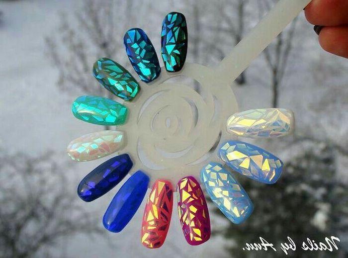 pretty nail designs, manicure palette, mirror like design, nails in different colours