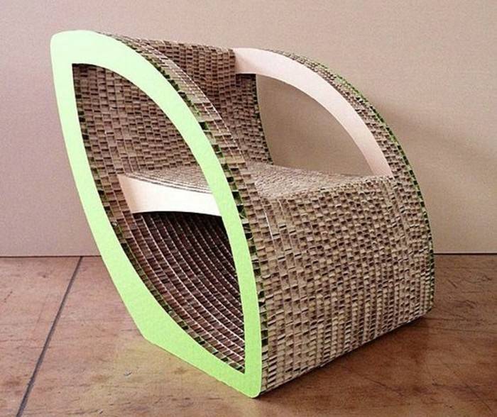 cardboard armchair, painted in green, diy cardboard shelves, intricate design, tiled floor