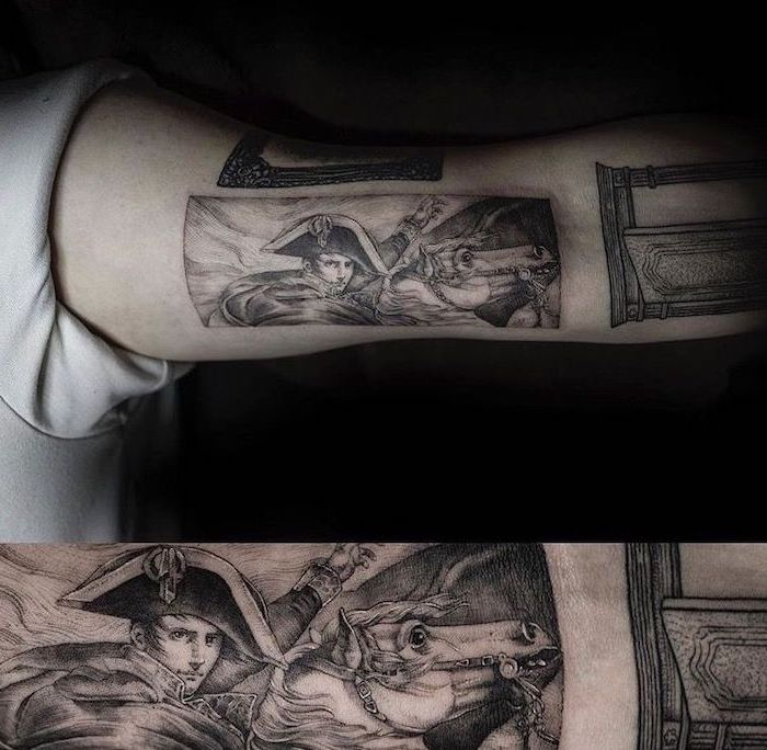 cool tattoos for guys, napoleon crossing the alps painting, inner arm tattoo, black background