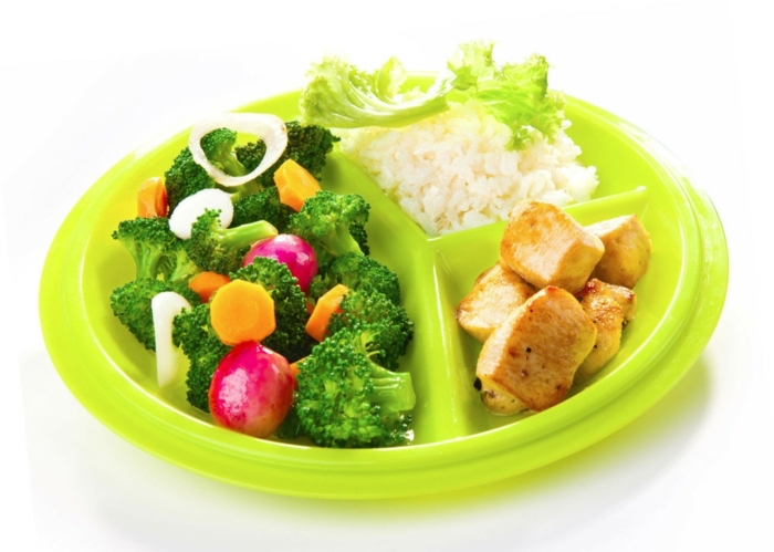 neon green plate, full of salad, meat and rice, nutrition plan, broccoli an turnip salad, white background