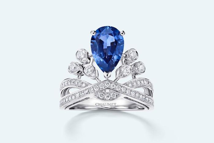 beautiful wedding rings, teardrop sapphire, diamond studded white gold band