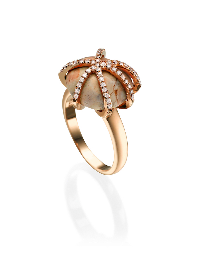 opal stone, octopus shaped rose gold diamonds, beautiful wedding rings, white background