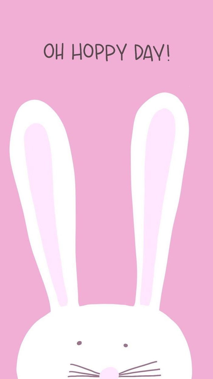 oh hoppy day, long bunny ears, easter themed phone background wallpaper, pink background, spring desktop wallpaper