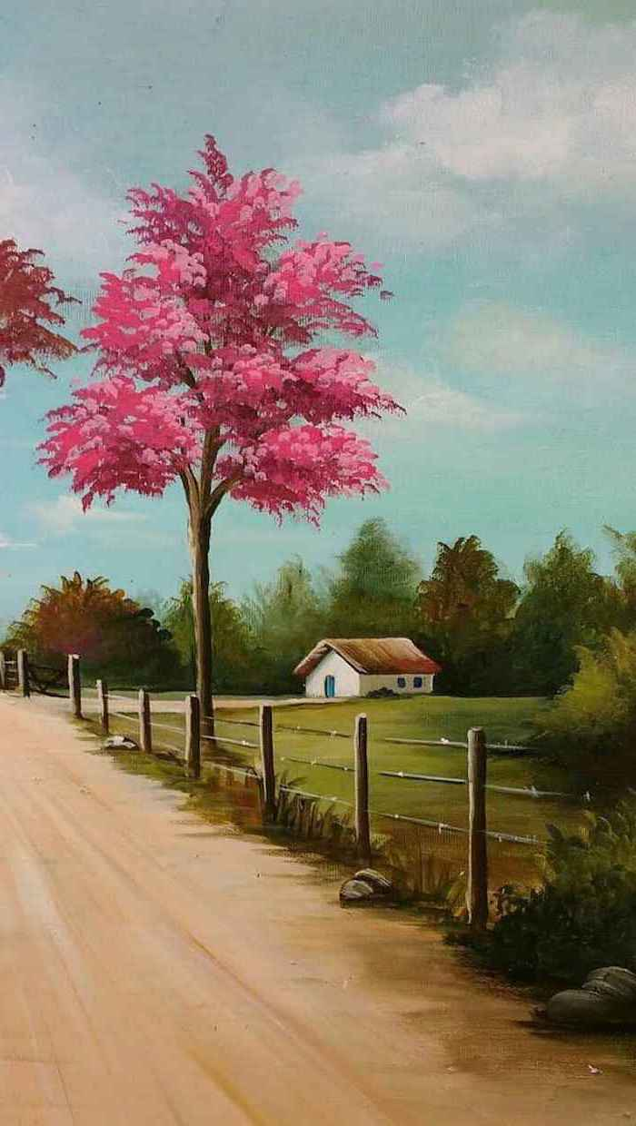 spring background images, small house, painting of a rural landscape, pink blooming tree, next to a pathway