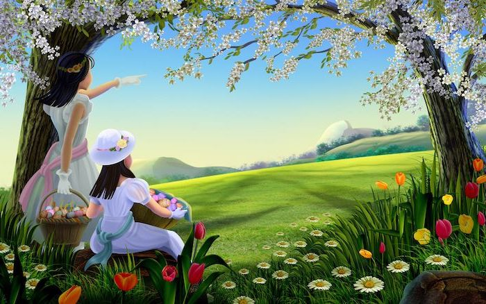painting of two girls, blooming trees, lots of flowers, green field, spring desktop backgrounds