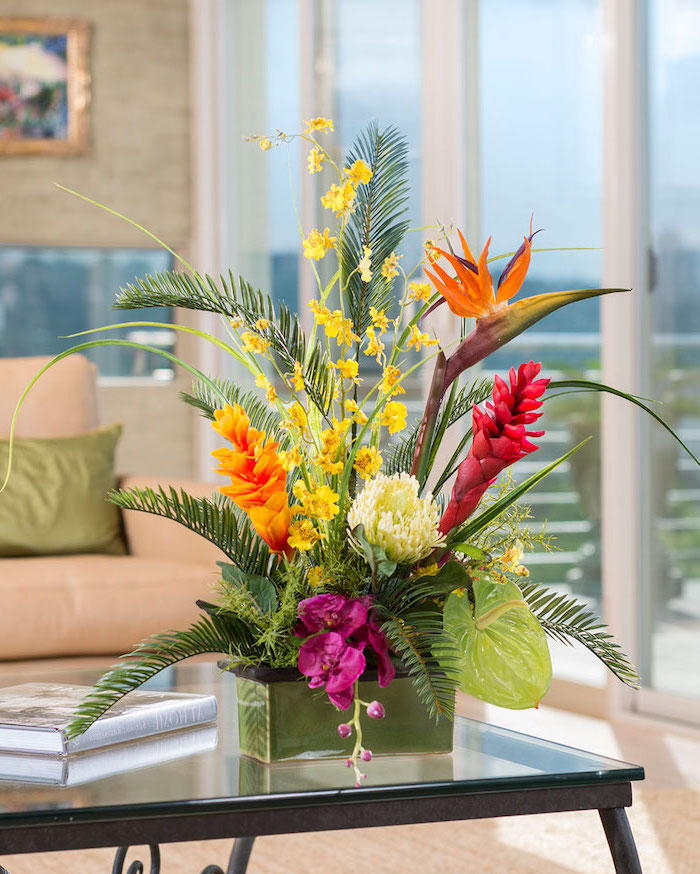palm leaves, different colourful flowers, how to arrange flowers, large flower bouquet, in a small vase