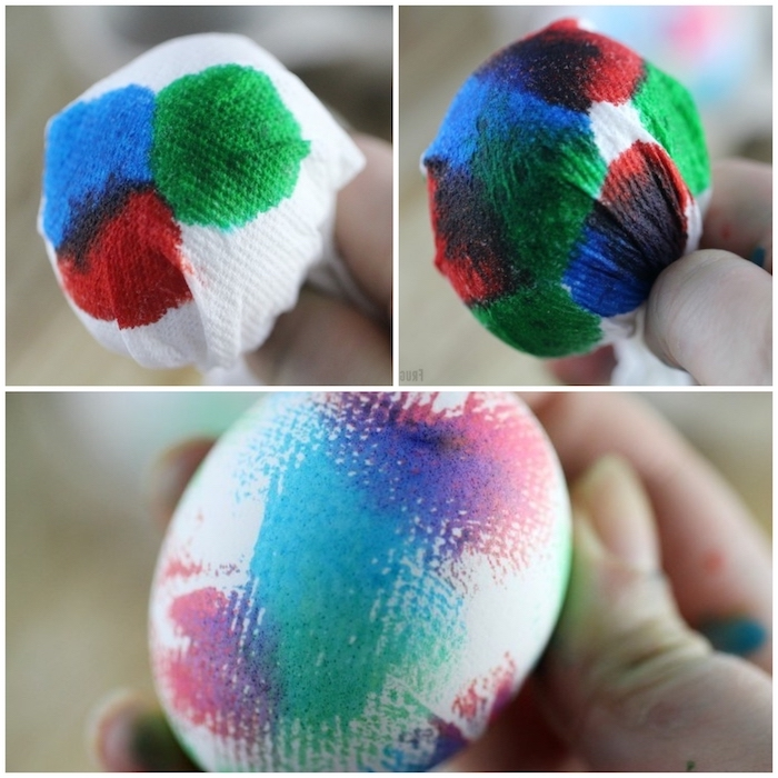 dying eggs with shaving cream, step by step, diy tutorial, paper napkin, colourful dye