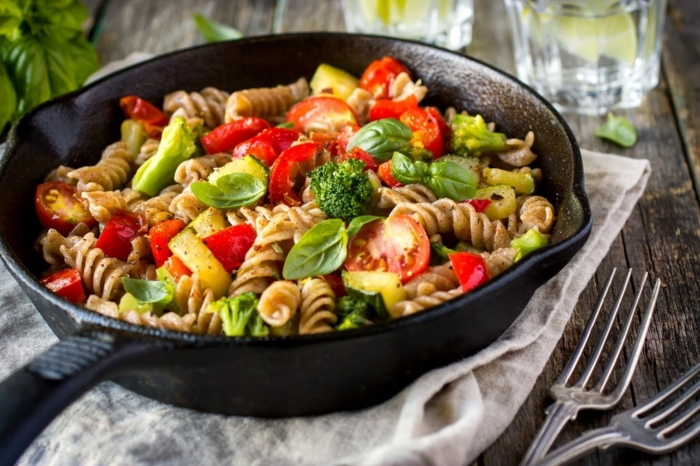 black pot, full of pasta, 7 day healthy eating plan, tomatoes and basil, two forks on the side
