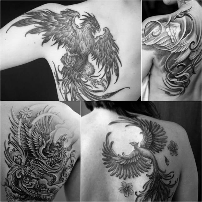phoenix rising, shoulder tattoos, side by side pictures, cool tattoos for guys