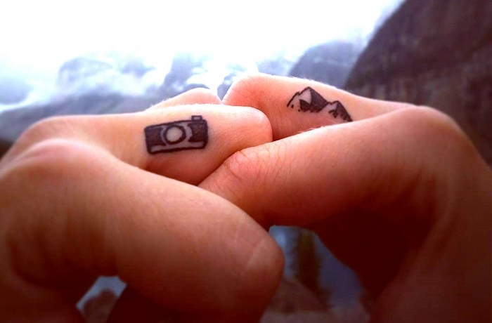 photo camera and a mountain landscape, middle finger tattoos, cute finger tattoos, his and hers tattoo