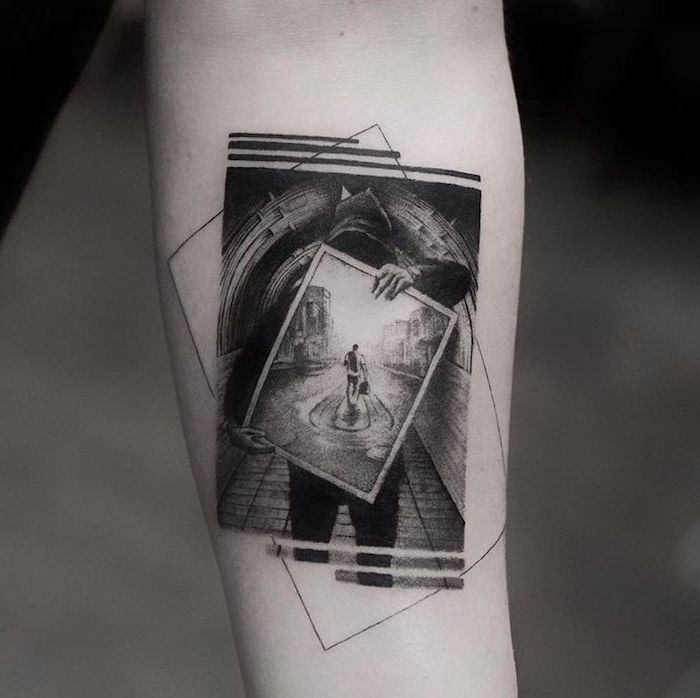 picture inside a picture, forearm tattoo, tattoos for men with meaning, blurred background