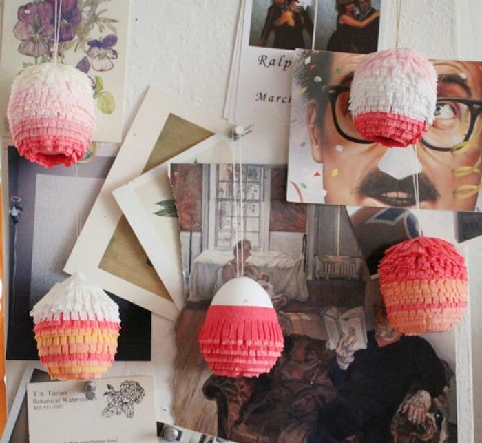 pinata eggs, step by step diy tutorial, hanging on a wall, dying easter eggs, photos on the wall
