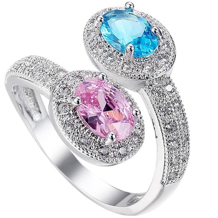 blue and pink sapphires, beautiful wedding rings, diamond studded white gold band
