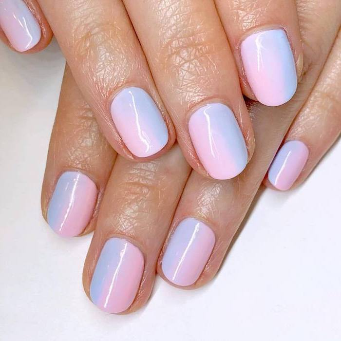 light pink and purple ombre nail polish, short squoval nails, cute coffin nails, both hands photographed