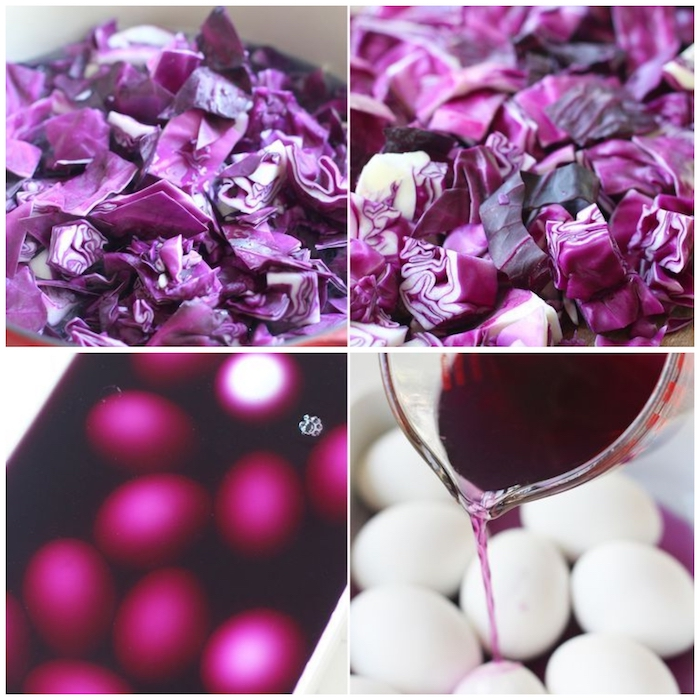 step by step, diy tutorial, robin eggs, pink cabbage, juice poured over white eggs, easter egg designs