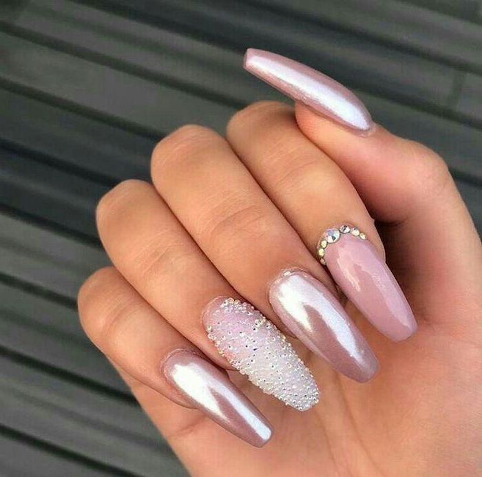 pink metallic nail polish, rhinestones on the nails, nail art ideas, long coffin nails