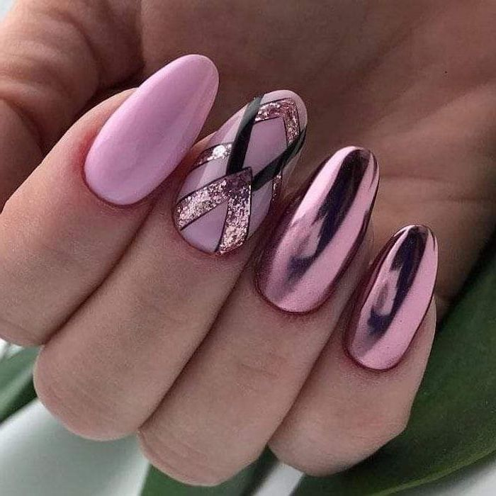 pink nail polish, pink metallic nail polish, nail art ideas, geometric shapes drawn on one of the nails