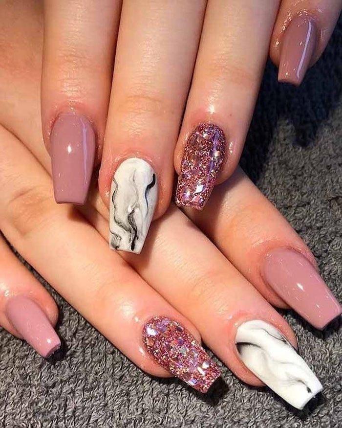 nude nail polish, marble nails, pink glitter nail polish, nail art ideas, long coffin nails